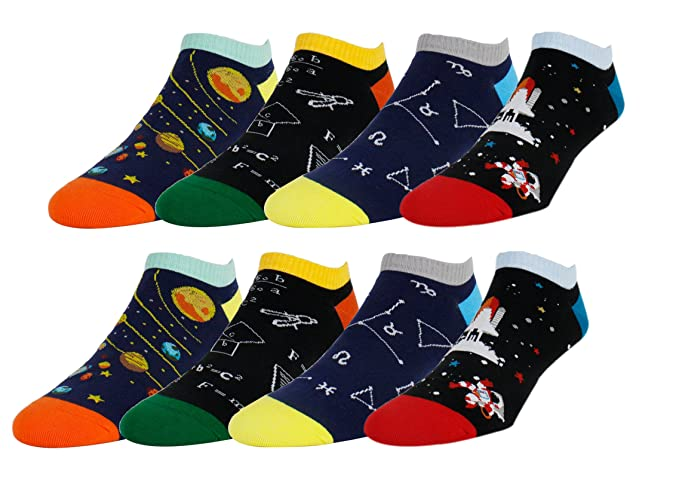 0694ed8e3cca5 Happypop 4 Pack Novelty Ankle Space Socks Funny Crazy No Show Math Rocket  Solar System Socks