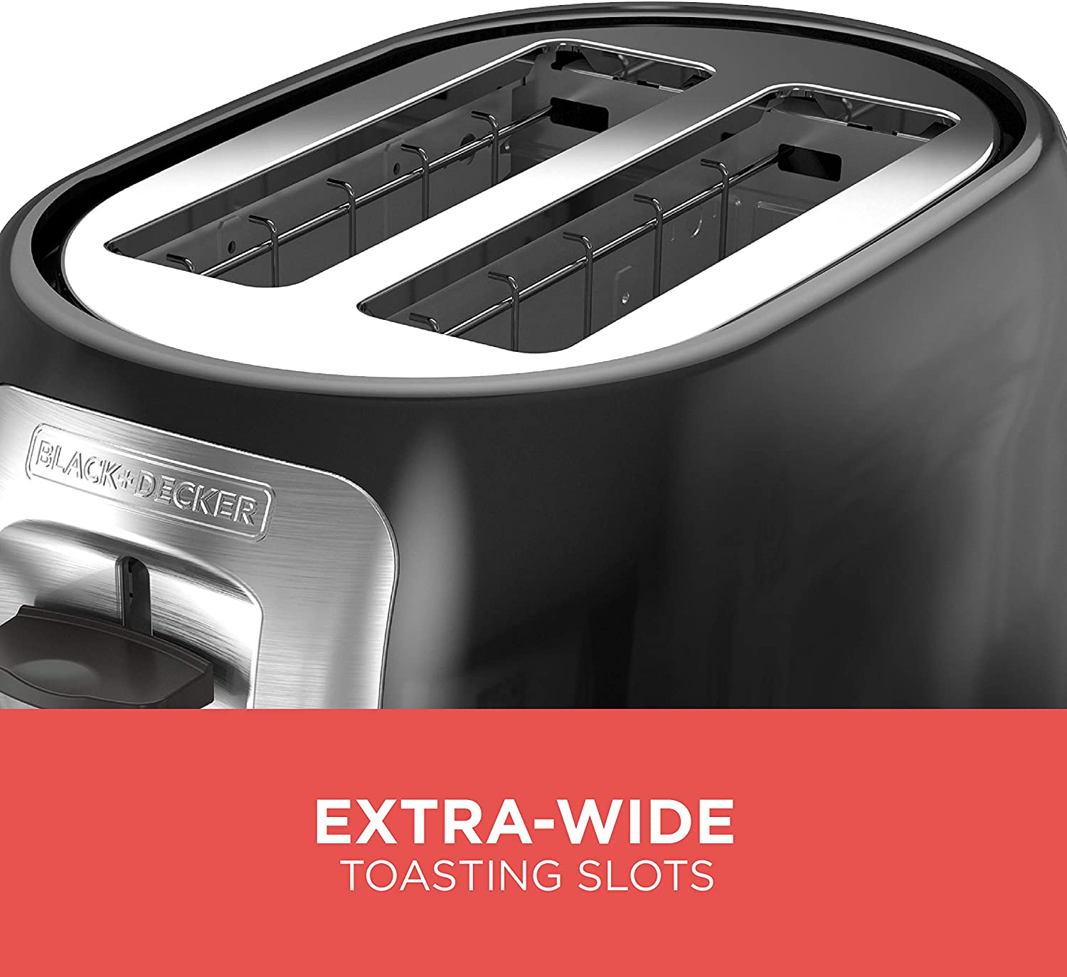 BLACK+DECKER 2-Slice Extra Wide Slot Toaster Classic Oval Black with Stainless