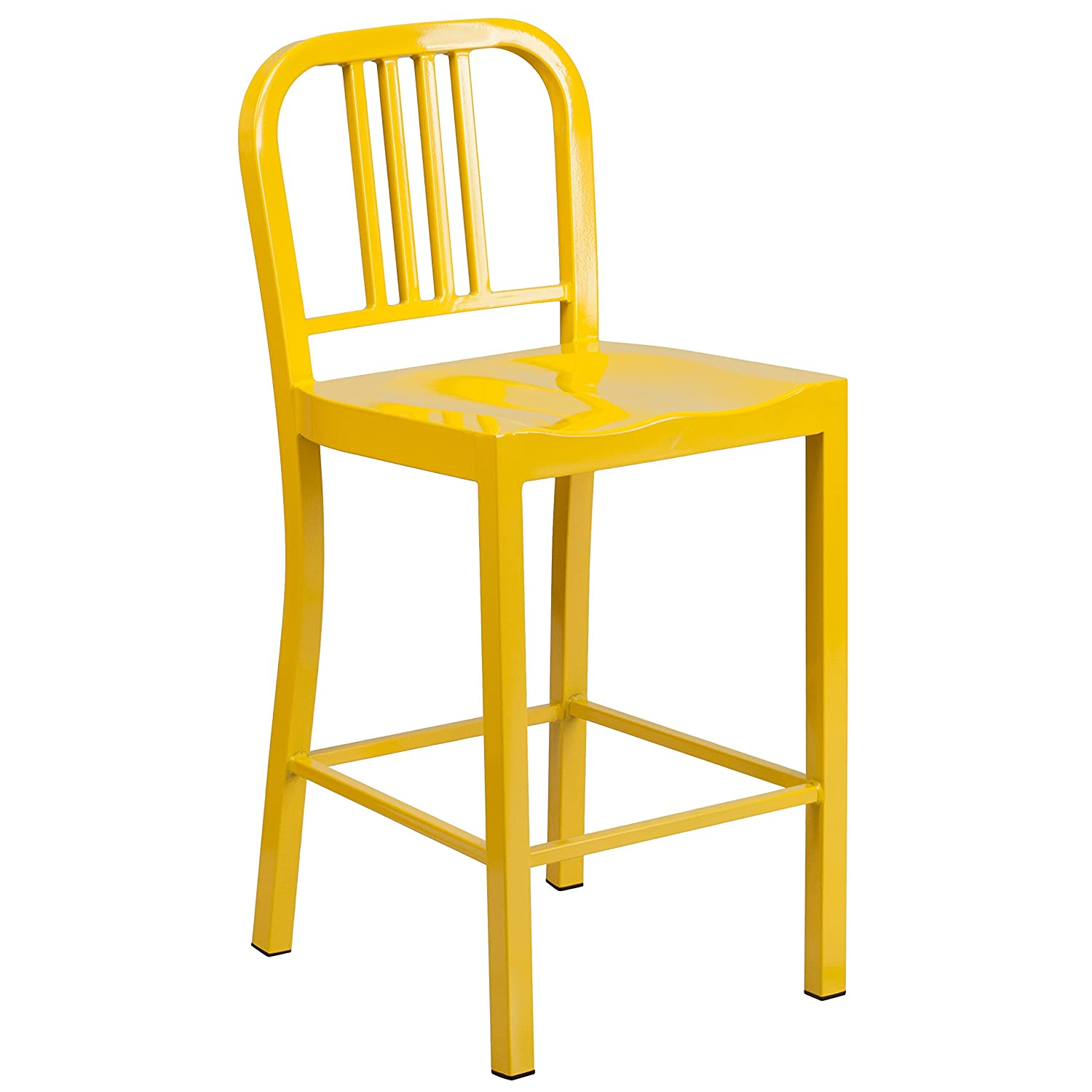 Flash Furniture High Metal Indoor-Outdoor Barstool, 24 , Yellow