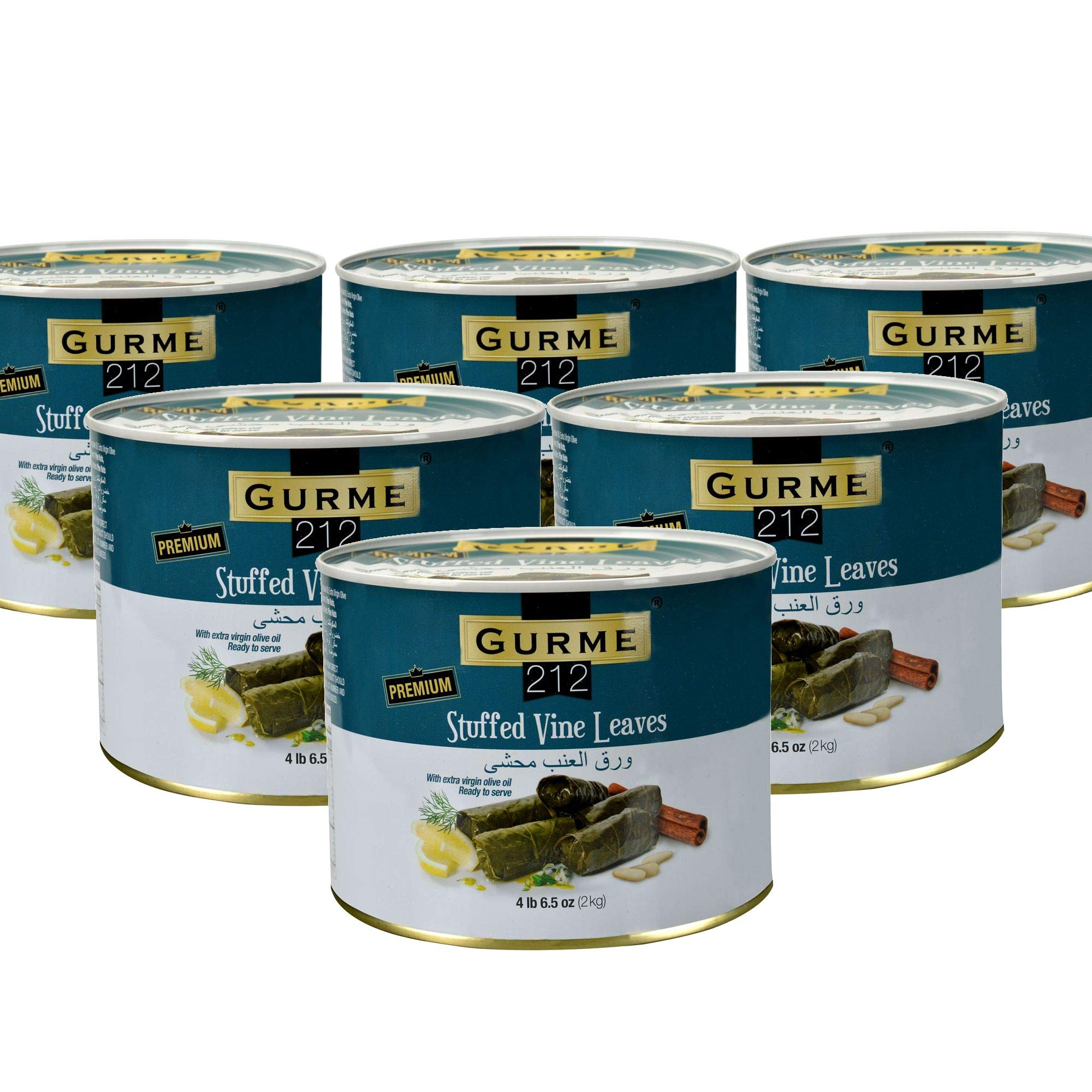 Gurme212 Premium (Bulk 6-pack) 4.4 lbs Stuffed Vine Leaves (Dolmades) with Olive Oil (1-can available)
