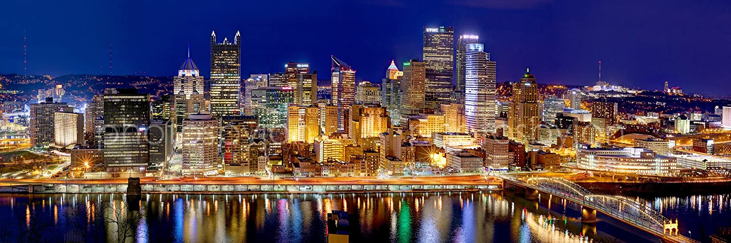 Pittsburgh Skyline Christmas 2021 Amazon Com Pittsburgh Skyline 2017 Photo Print Unframed Night Downtown City Color 11 75 Inches X 36 Inches Photographic Panorama Poster Picture Standard Size Posters Prints