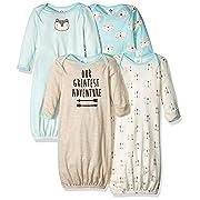 GERBER Baby Boys' 4-Pack Gown, Fox, 0-6 Months
