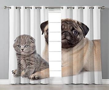 Amazoncom Stylish Window Curtainspugcute Young Pets Kitten And