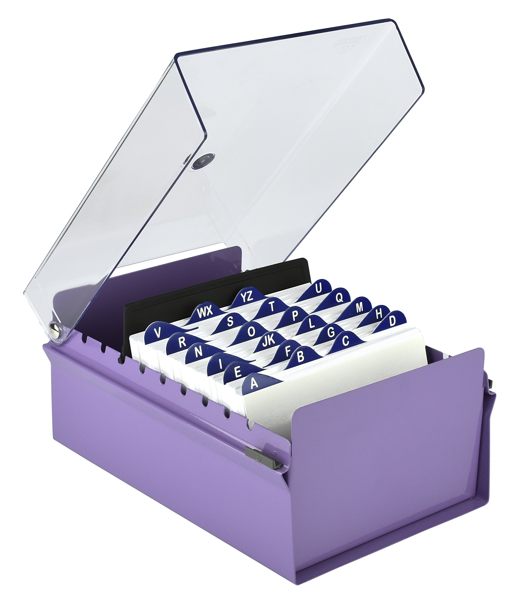 Acrimet 4 X 6 Card File Holder Organizer Metal Base Heavy Duty (Purple Color with Crystal Plastic Lid Cover)