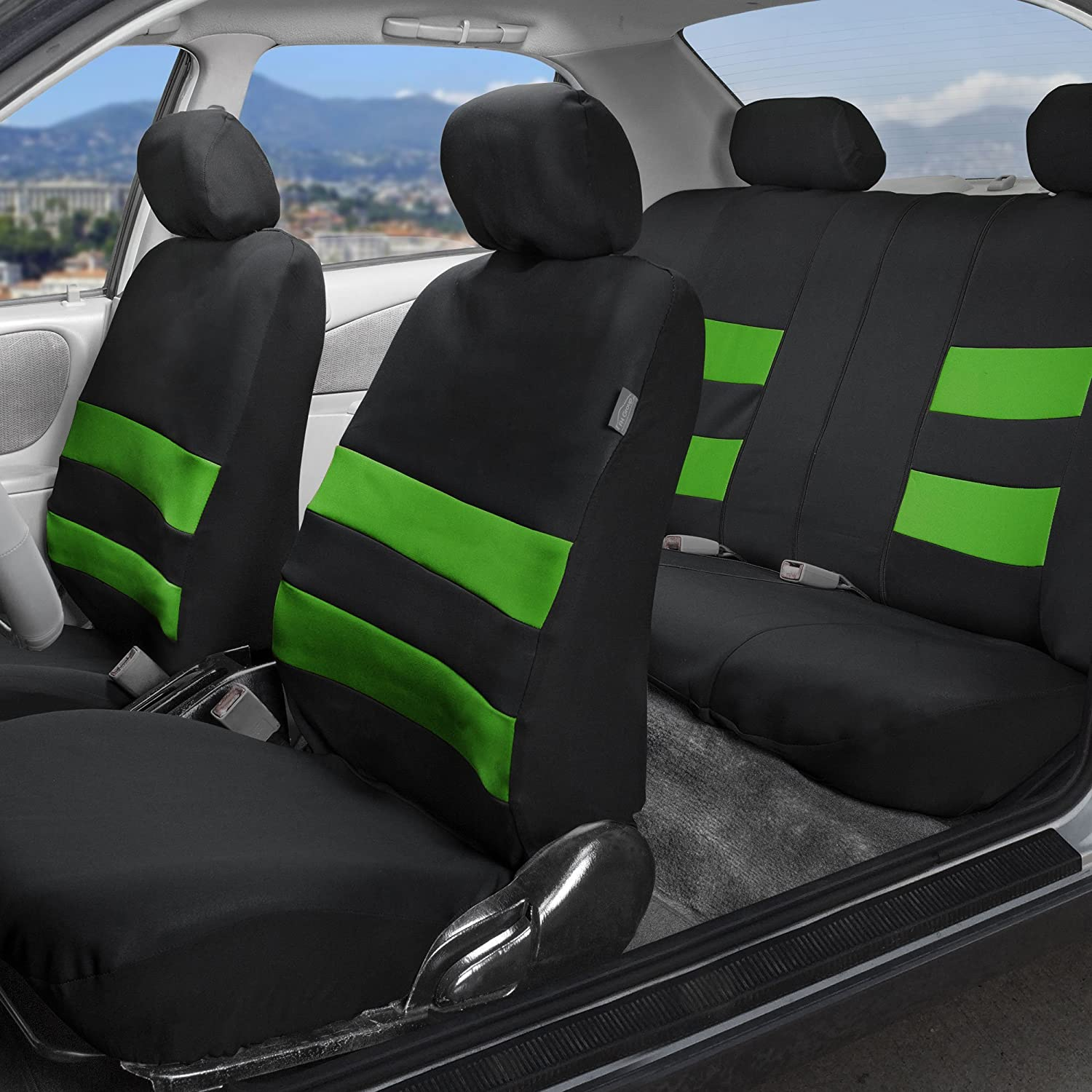 Water Resistent//Airbag//Split Bench Compatible FH Group FB087BLUE115 Blue Premium Neoprene Seat Cover