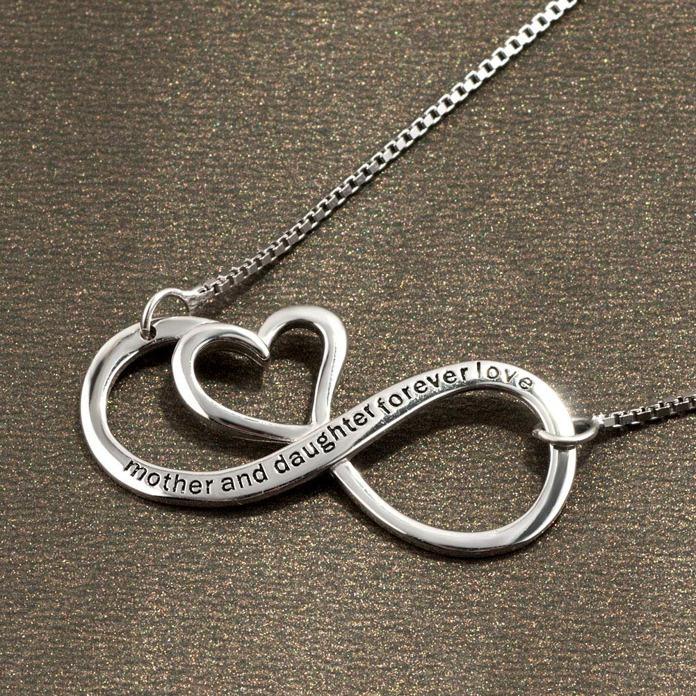 Moonlight Collections Engraved Infinity Necklace Silver 925 Sterling Pendant Forever Love Sign