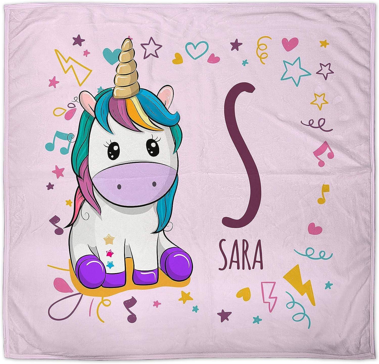 Manta Unicornio para Bebe Personalizada con Nombre. Regalo Bebé Recién Nacido. Tejido Polar. Varios Diseños a Elegir. Unicornio Rosa