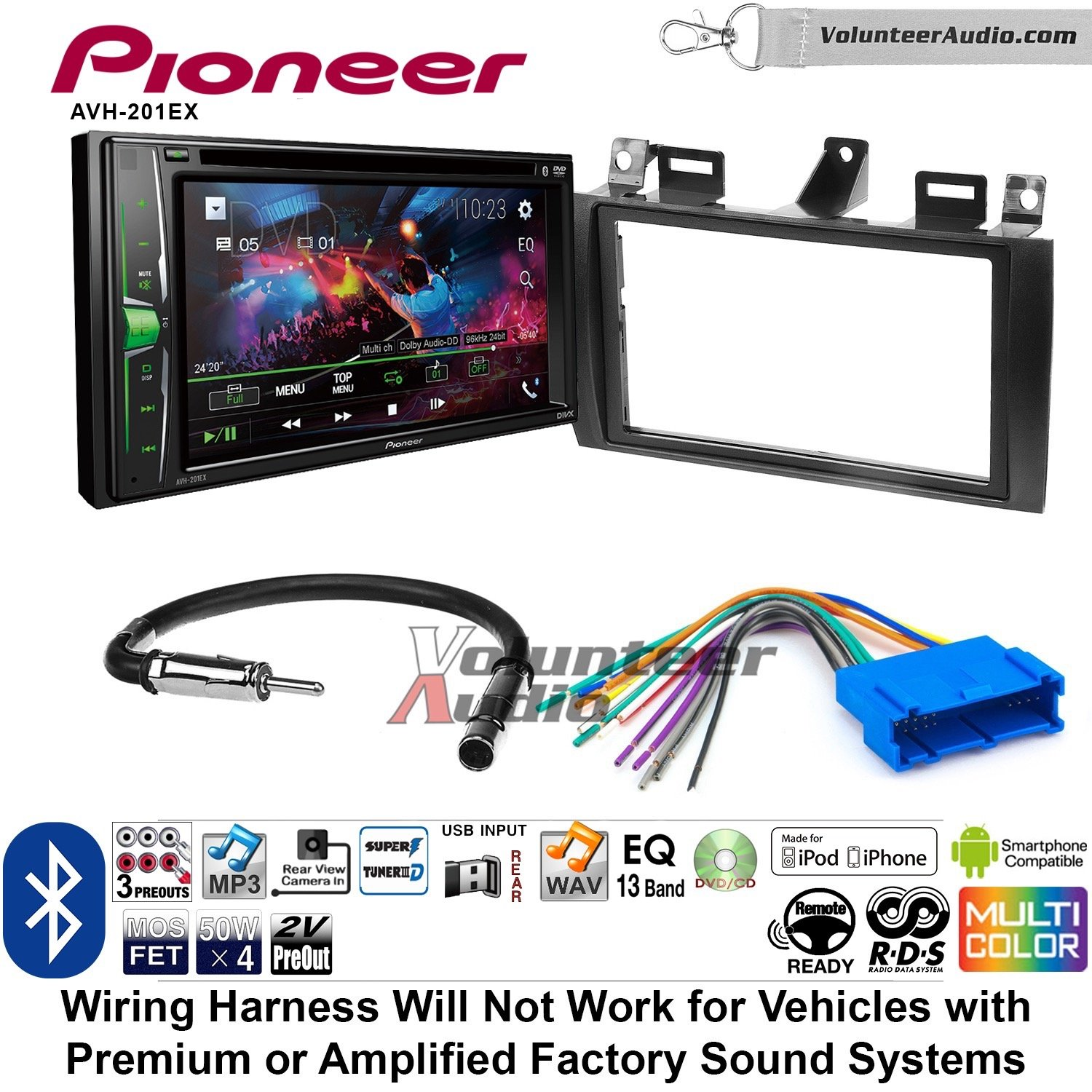 Volunteer Audio Pioneer AVH-201EX Double Din Radio Install Kit with CD Player Bluetooth USB/AUX Fits 2000-2005 Cadillac Deville, 1996-2004 Seville