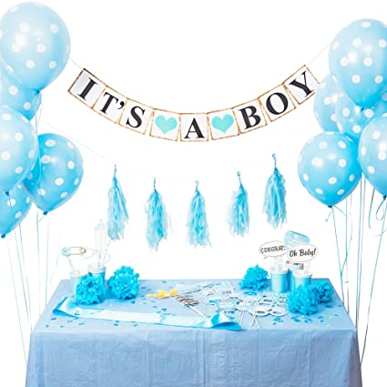 Amazon Baby Shower Decorations For Boys Cute Blue Set Throw The