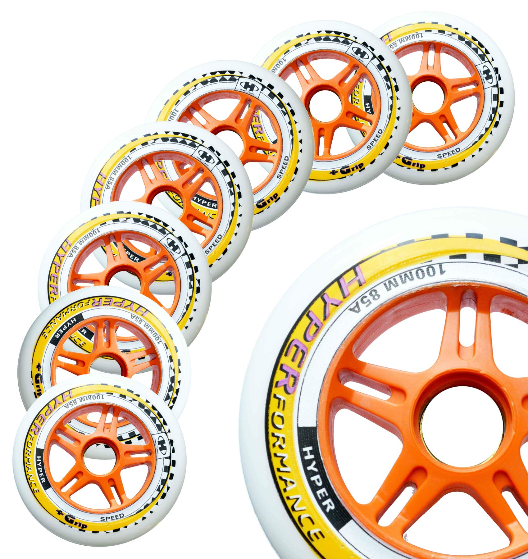 Inline Race Skate Wheels Hyper HYPERFORMANCE+G - 8 Wheels - 85A - Sizes: 84MM, 90MM, 100MM, 110MM - Speed Skating, Fitness and Outdoor Recreational Wheels (100MM)