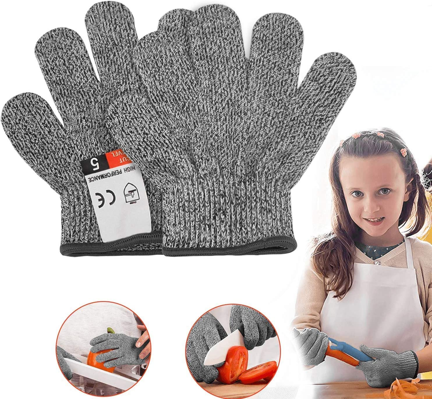 YIUON Cut Resistant Gloves, Safety Kitchen Food Grade Cut-less Gloves for Kitchen, Outdoor Yard Work, Wood Carving Carpentry, Art Work, Craft, Gray, 1 Pair (xxxs)