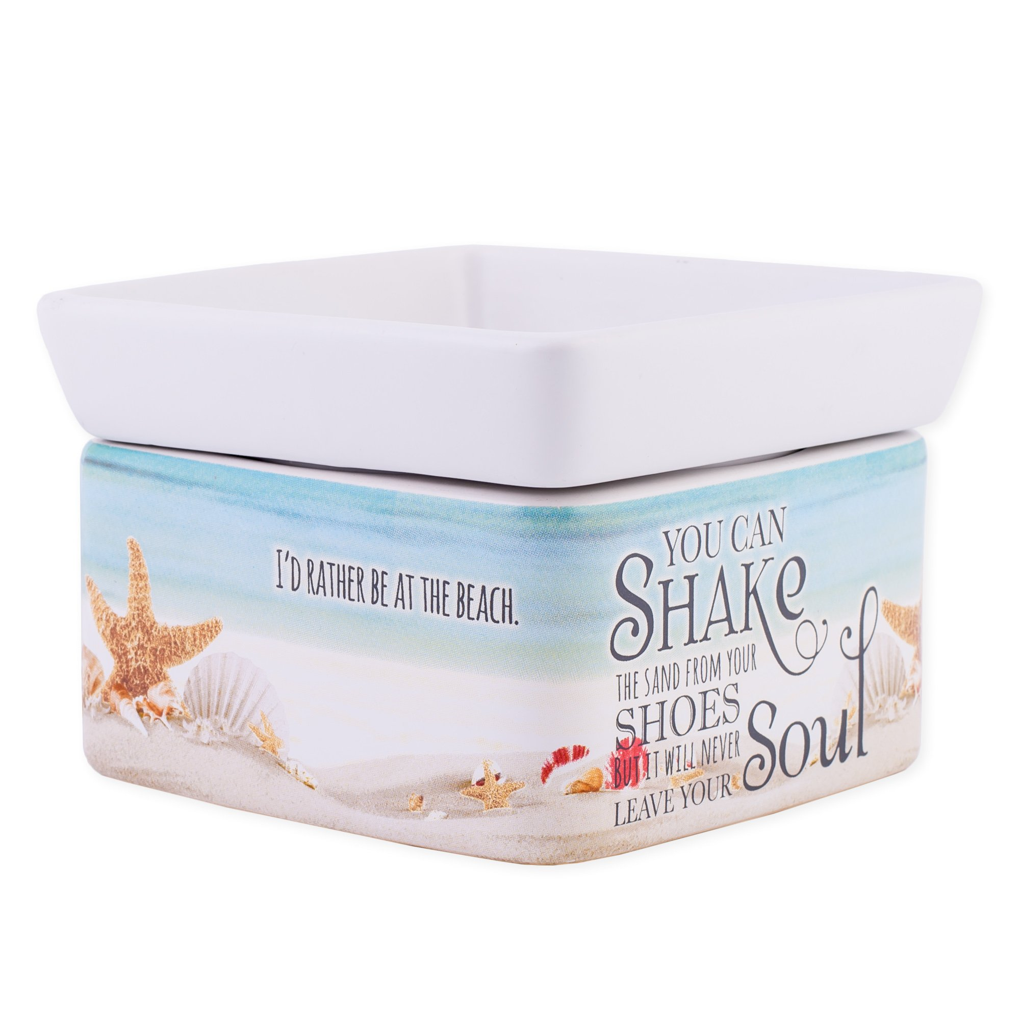 Shake Sand from Shoes White Stoneware Electric 2-in-1 Jar Candle and Wax Tart Oil Warmer by Elanze Designs (Image #3)