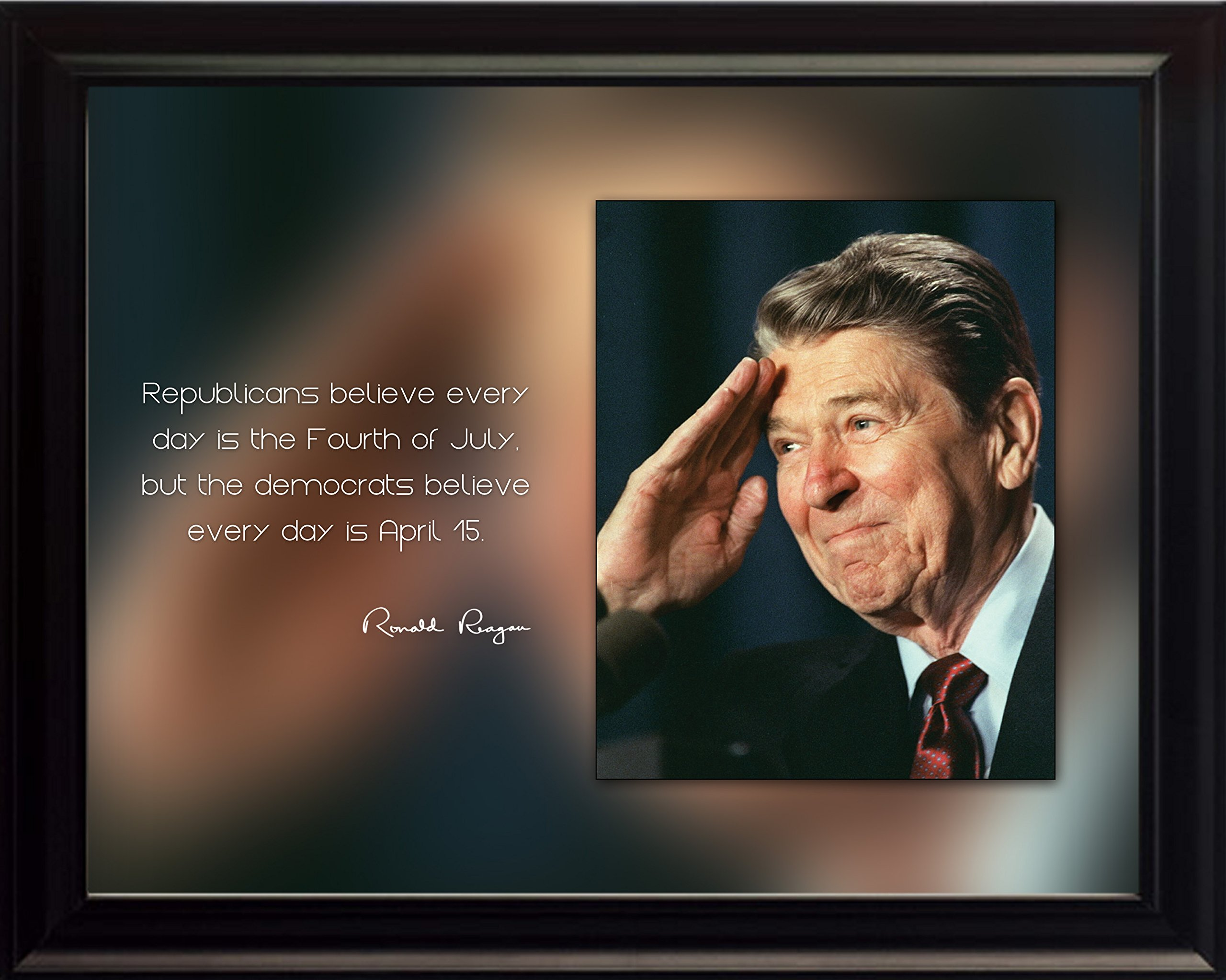 Ronald Reagan Photo Picture Poster Framed Quote''Republicans believe every day is the Fourth of July'' US President Portrait Famous Inspirational Motivational Quotes (8x10 Framed)