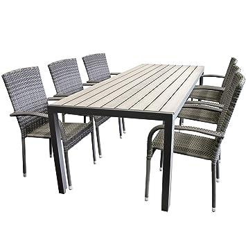Gartengarnitur Aluminium Polywood Non Wood 205x90cm Gartentisch Sitzgruppe Rattan  Gartenstuhl Stapelbar Stapelstuhl