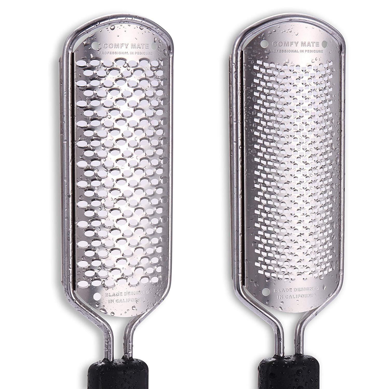 UPGRADED 2 Blades Pedicure Foot File Scrubber Rasp Feet Callus Shaver Cuticle Cutter and Corn Remover Pedi tool (2 Blades) Comfy Mate
