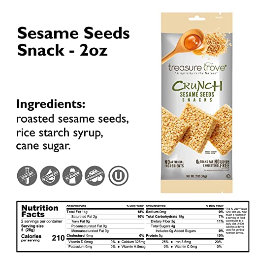 Treasure Trove Sesame Seeds Healthy Snacks, 2oz - 12 Count, Variety Pack -  3 Mixed Seeds, 3