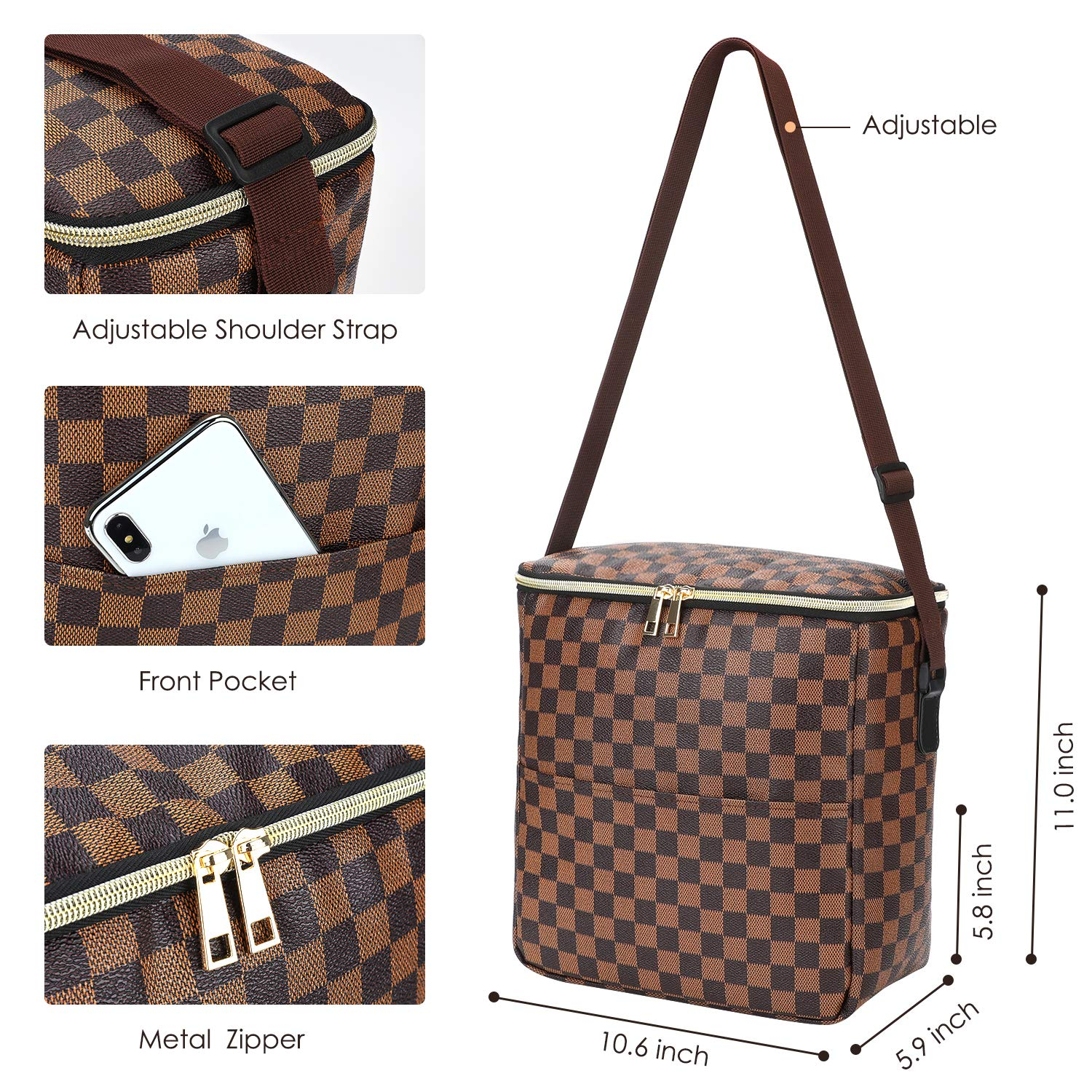 Checked Pattern Lunch Bags For Women and Man,Insulated Lunch Box Cooler Bag with Adjustable Shoulder Strap Water-resistant Thermal PU Soft leather Lunch Shoulder Bag for Work//Picnic//Beach//Hiking