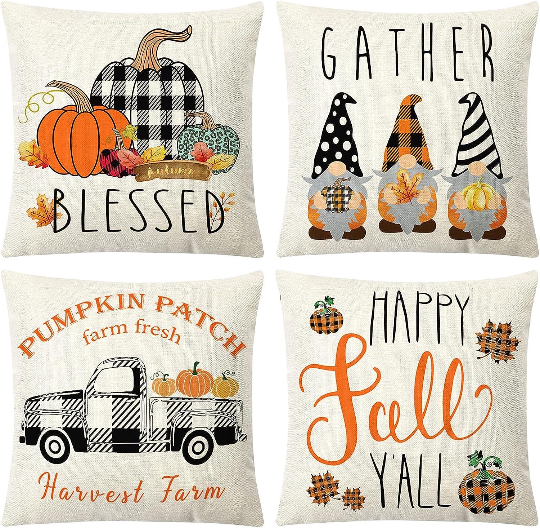 Tosewever Fall Pillow Covers 18x18 Set of 4 Pumpkin Thanksgiving Buffalo Check Plaid Gnomes Seasonal Autumn Decorative Farmhouse Pillow Cushion Case for Sofa Couch Bed Home Car (18