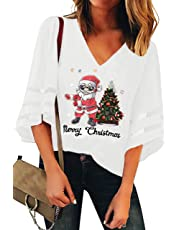 Basic Model Women's Mesh Pancel 3/4 Bell Sleeve Blouse V-Neck Casual Loose Tops Christmas Holiday Graphic Shirt