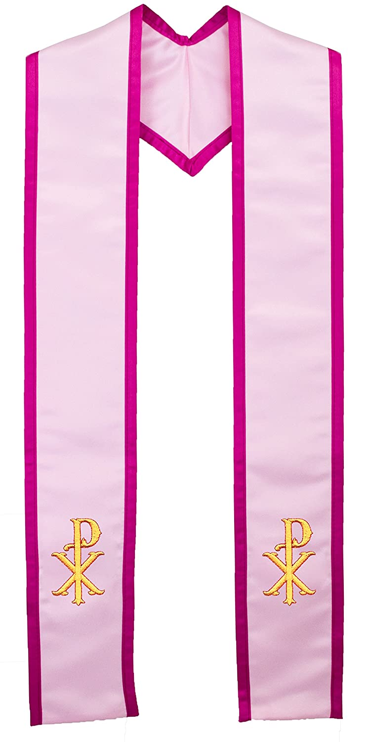 Deluxe Satin Clergy Stole with Embroidered Christs Name Symbol