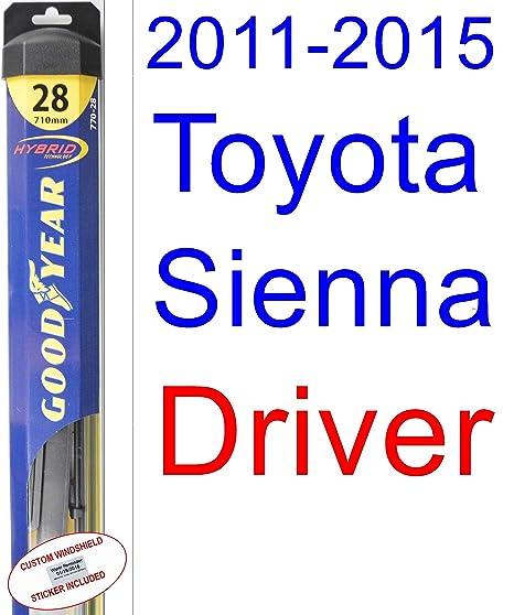 2011 – 2015 Toyota Sienna hoja de limpiaparabrisas de repuesto Set/Kit (Goodyear limpiaparabrisas