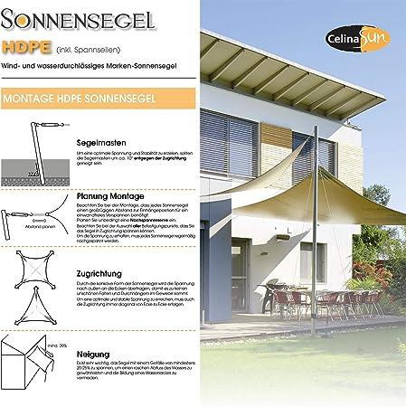 CelinaSun Toldo con protección Solar para jardín y balcón HDPE Polietileno Transpirable Cuadrado 4, 6 x 4, 6 m Verde: Amazon.es: Jardín
