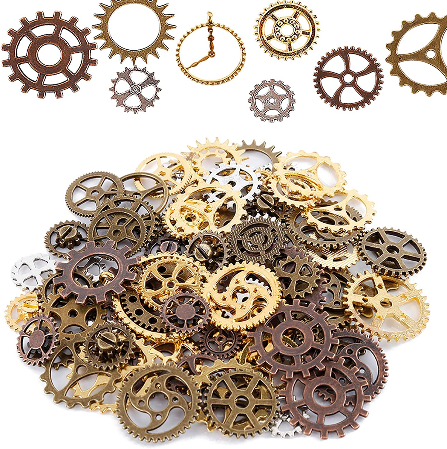 FOCCTS Jewelry Cogs 100 Grams Assorted Antique Steampunk Gears Charms Cogs Clock