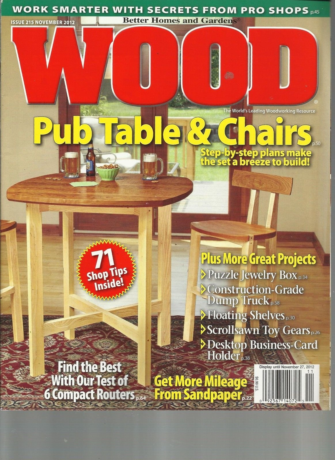 WOOD, THE WORLD'S LEADING WOODWORKING RESOURCE, NOVEMBER,2012(PUB TABLE & CHAIRS