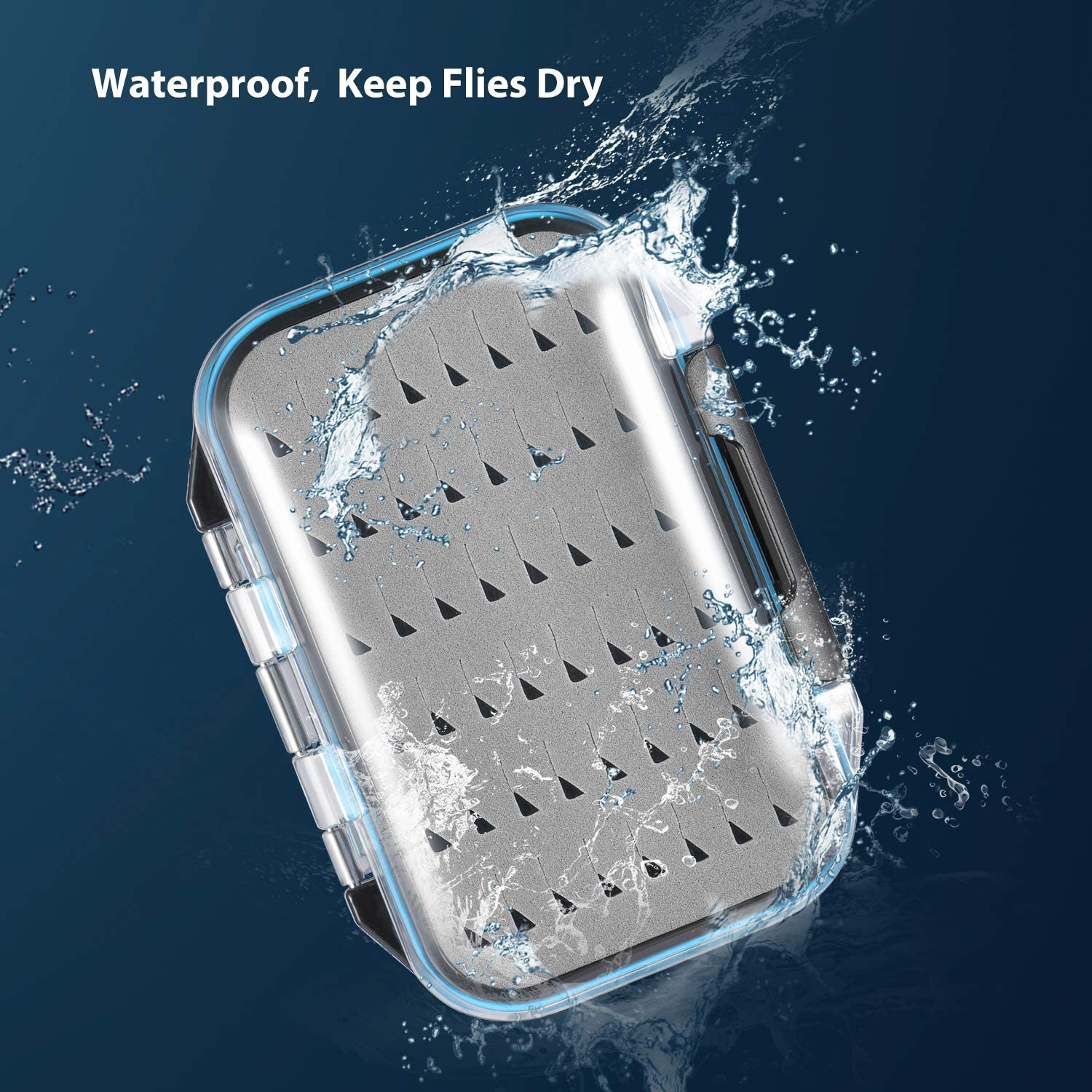 Magreel Fly Fishing Box Two-sided Waterproof Lightweight Fly Box Easy Grip Transparent Lid Fly Fishing Lures Box Multiple Sizes