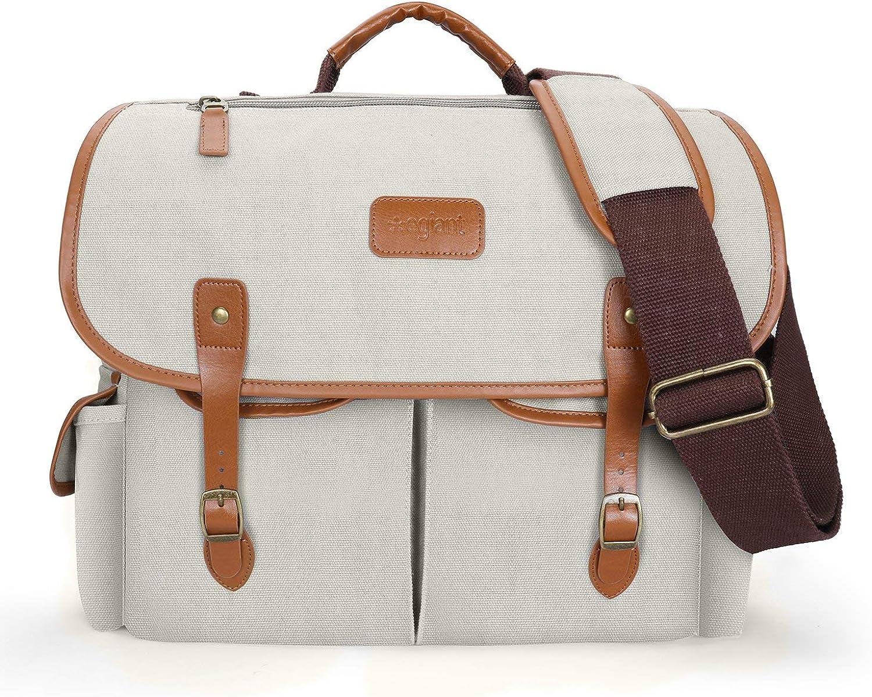 Egiant 15.6 Inch Laptop Messenger Bag for Men and Women,Water-Resistant Protective Vintage Canvas Satchel Shoulder Bags Briefcase for School Travel,Grey