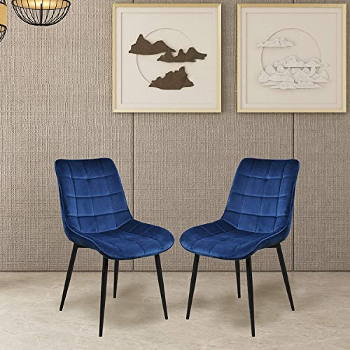 Dining Chairs, Rockjame Set of 2 Modern Leisure Upholstered Side Chairs, Velvet Cushion Seat and Mid-Back Support with Metal Legs for Kitchen, Bedroom, Living or Waiting Room Blue