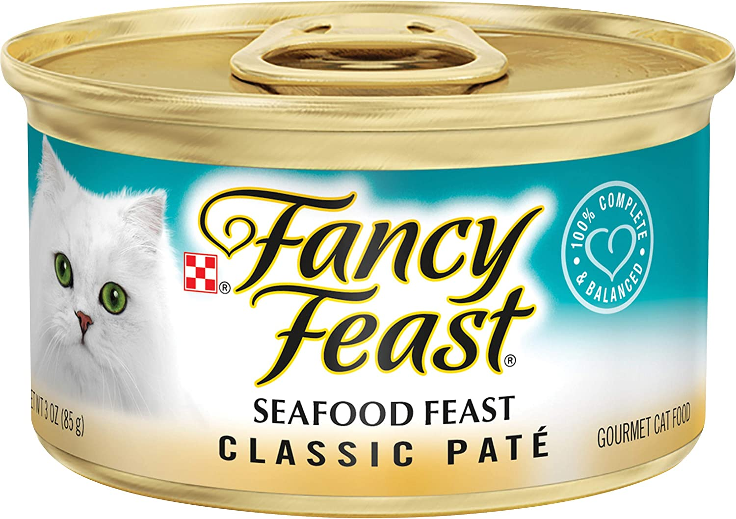 Purina Fancy Feast Grain Free Pate Wet Cat Food, Classic Pate Seafood Feast - (24) 3 oz. Cans