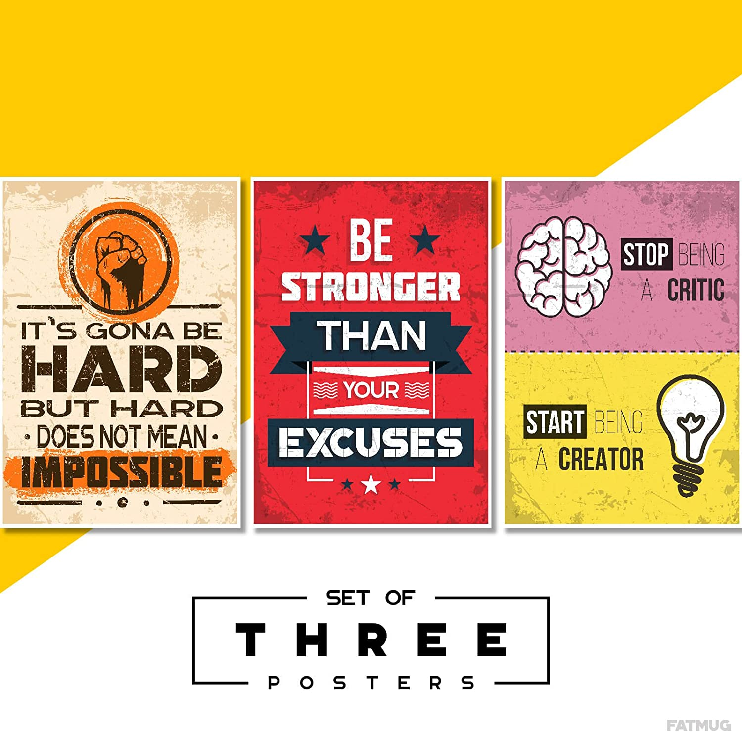 Motivational Posters For Office And Study Room - Set of 3 - 13x19 in - Inspirational Wall Quotes Q6