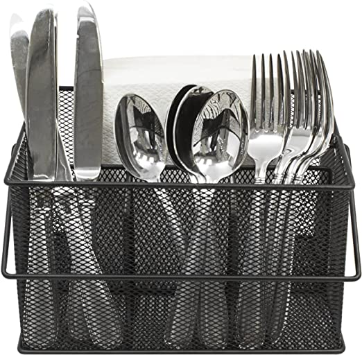 Amazon Com Sorbus Utensil Caddy Silverware Napkin Holder And Condiment Organizer Multi Purpose Steel Mesh Caddy Ideal For Kitchen Dining Entertaining Tailgating Picnics And Much More Black
