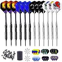 Qhui Dartpijlen met metalen punt, 12 stuks stalen darts pijlen, 24 g professionele dartpijlen met aluminium schacht, 30…