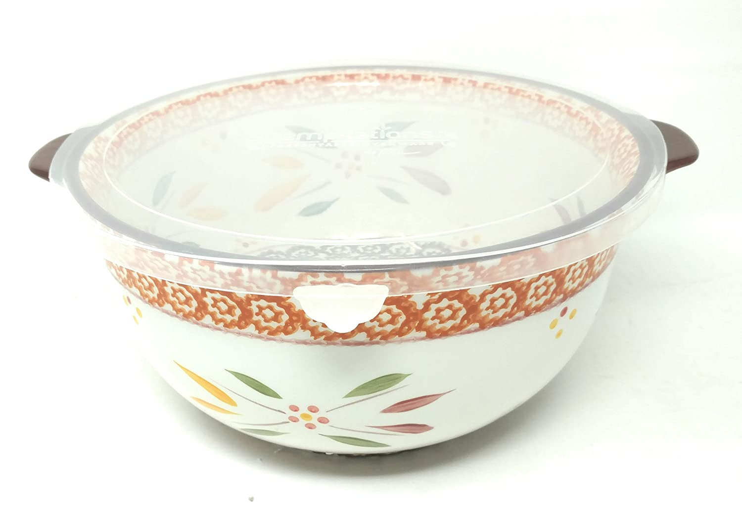 Temp-tations 4 Qt Mixing or Serving Bowl w/Plastic Cover (Also Cake Dome Replacement) (Old World Fallfetti)
