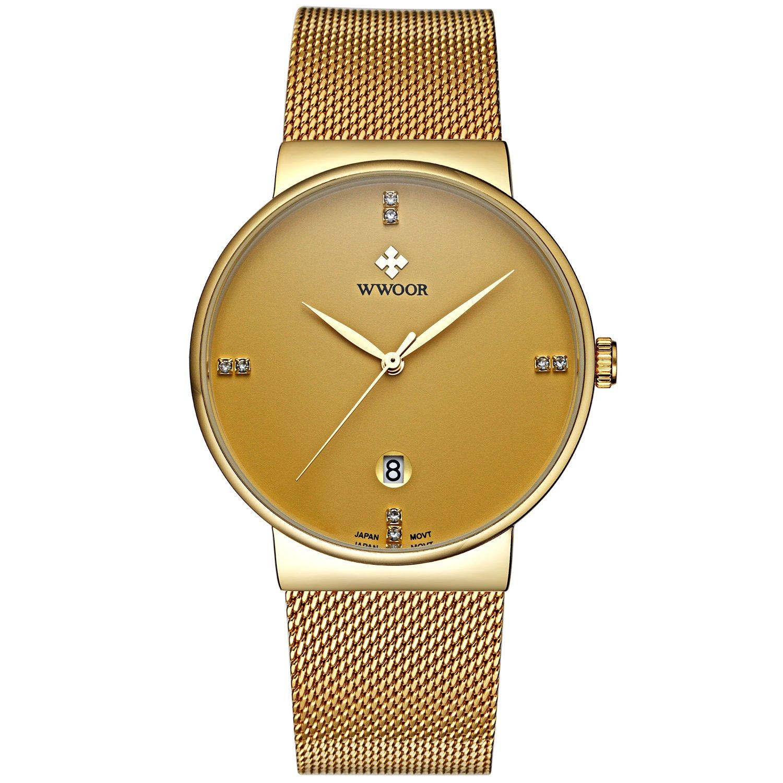 WWOOR Men s Ultra Thin Mesh Band Stainless Steel Watches Male Elite Sports Date Wrist Watch