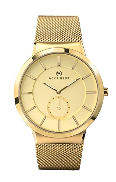 Accurist Mens Quartz Watch Gold Dial Gold Stainless Steel Bracelet 7015