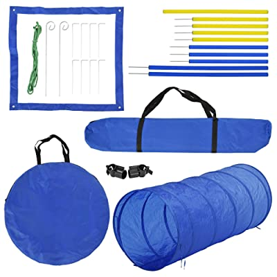 PawHut 4PC Obstacle Dog Agility Training Course Kit Backyard Competitive Equipment