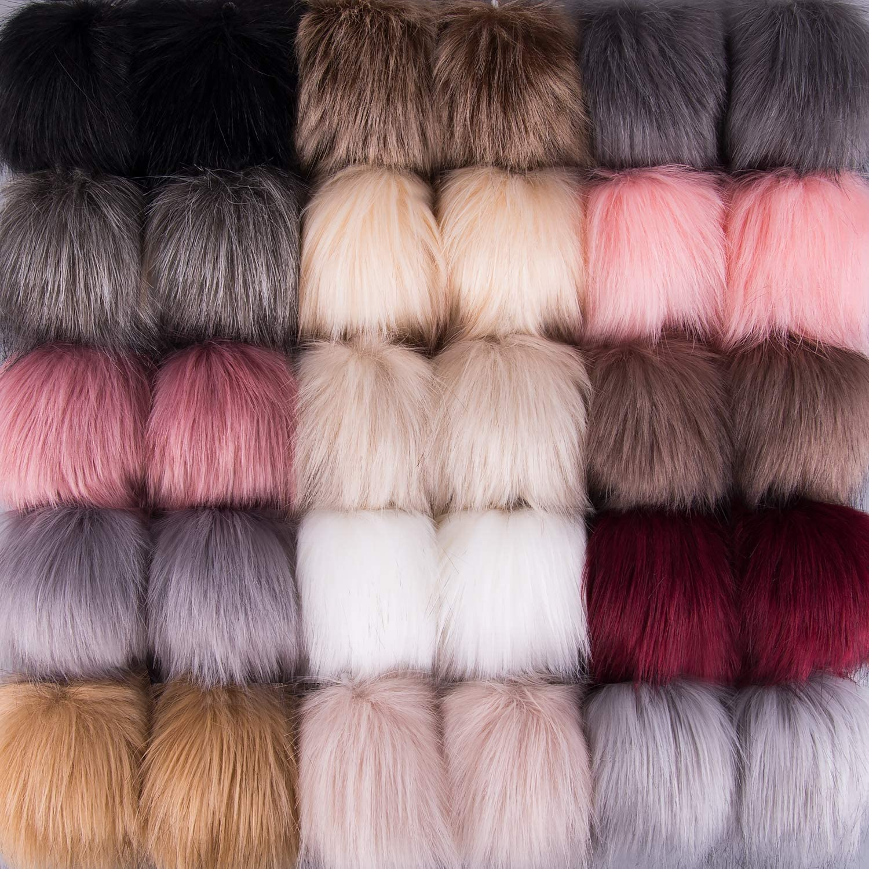 SIQUK 30 Pieces Faux Fur Pom Pom Balls Faux Fox Fur Pom Poms Fluffy Pom Pom with Elastic Loop for Hats Keychains Scarves Gloves Bags Accessories 15 Colors, 2 Pcs Per Color