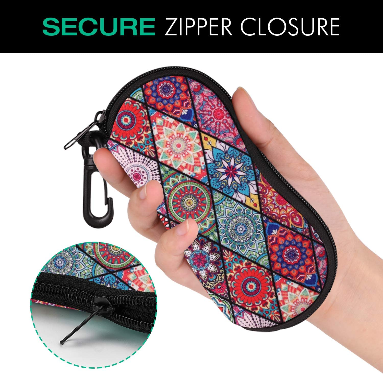 Ultra Ligero MoKo Funda de Gafas - Bolsa de Llaves Neopreno con Cremallera Almacenaje Lente Suave Sunglasses Case con Clip de Cintur/ón para Gafas L/ápices Tarjetas Mandala Rombo
