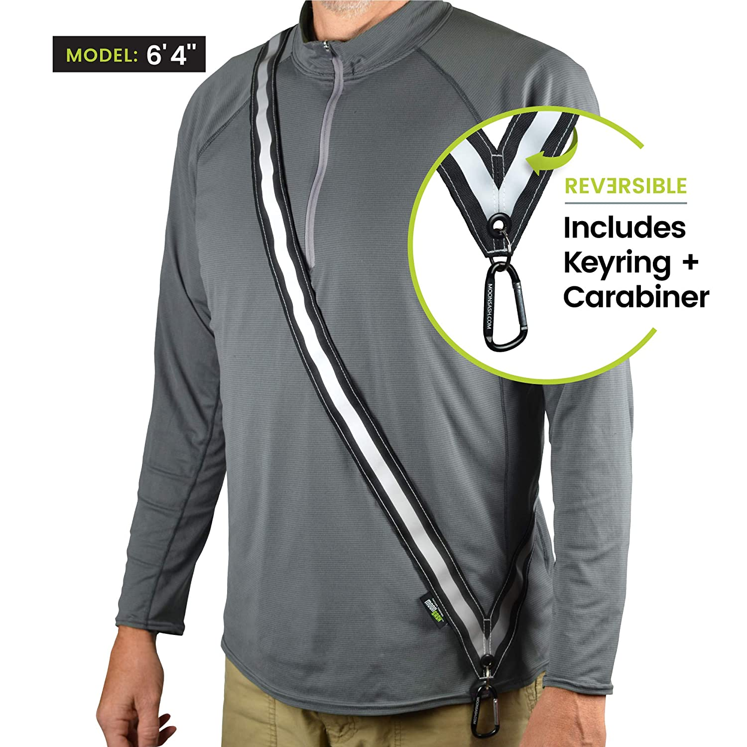 Harness /& Belt Alternative  Reversible USA Patented Reflective Sash  Night Safety Gear for Dog Walking MOONSASH Comfortable /& Practical  Get Noticed! Vest Scooters Commuters Bikers