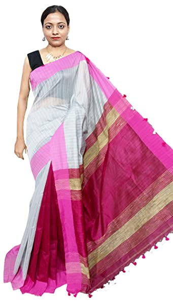 7cab7be942 Red Saree Women's Kusum Dola Cotton Silk Saree | RS399 | White - Magenta |  Free Size: Amazon.in: Clothing & Accessories