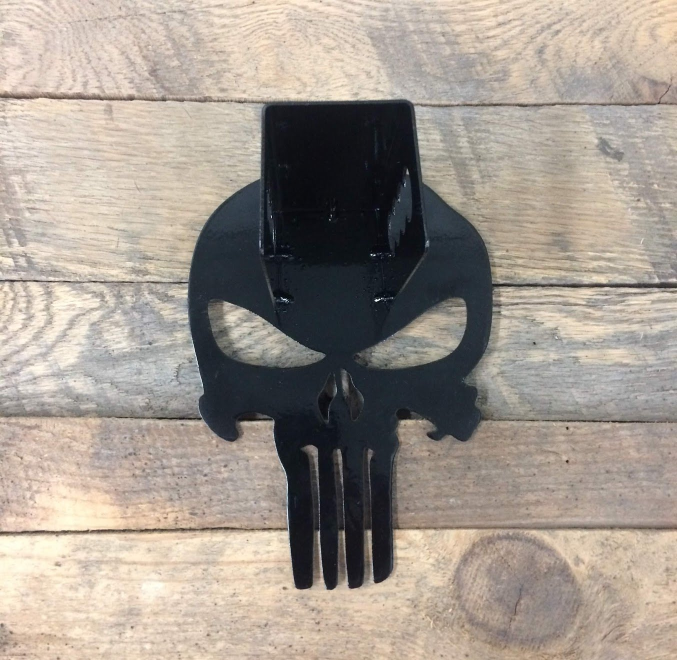 Fox MetalFab Powder Coated Trailer Hitch Cover Punisher Blue Stripe
