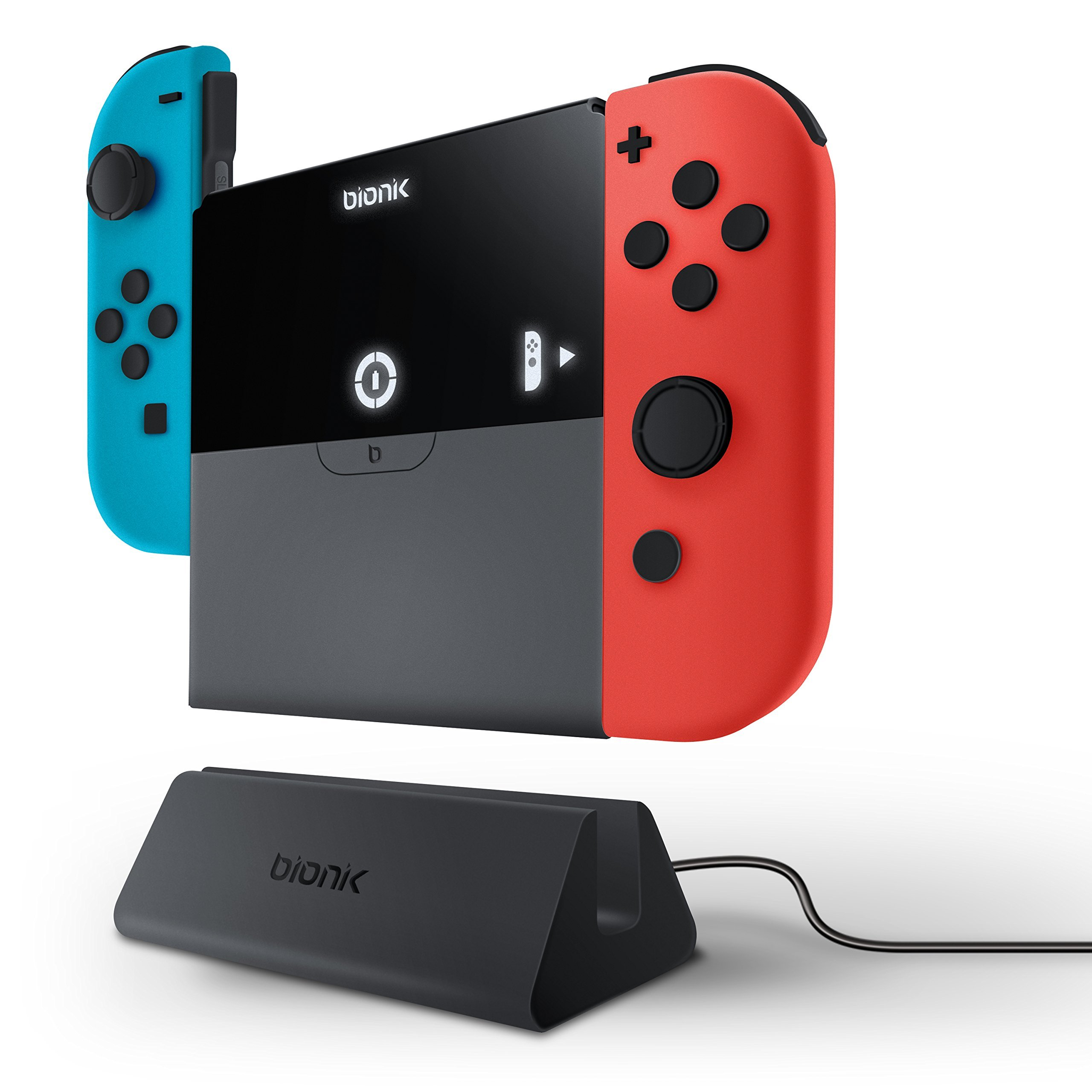 Bionik Power Plate - Multi-Function Portable Battery Bank and Joy Con Hand Grip for Nintendo Switch and Joy Con Controllers by Bionik