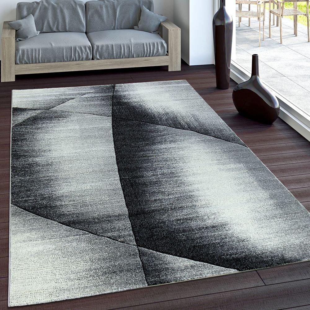 Elegante Tappeto Dal Design Moderno, Bordo A Quadri Grigio, Nero, Panna Mélange, Dimensione:80x150 cm PHC