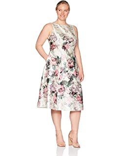 6f70412edd4 Adrianna Papell Women s Plus Size Printed Jacquard Sleeveless Tea-Length  Dress