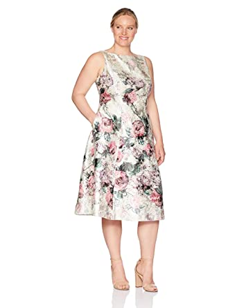 55bbf43bc8f2 Adrianna Papell Women's Plus Size Printed Jacquard Sleeveless Tea-Length  Dress at Amazon Women's Clothing store: