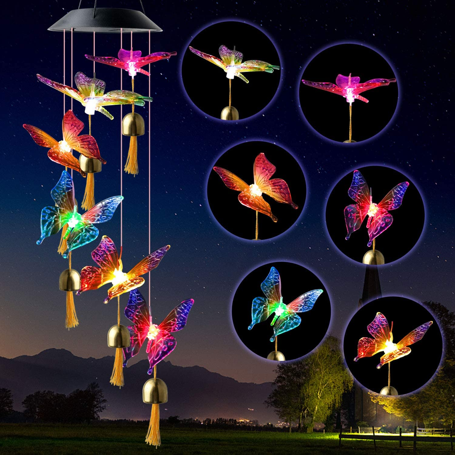JOBOSI Butterfly Wind Chimes Solar Butterfly Wind Chimes Butterfly Gift Solar Bells Butterfly Lamp Outdoor Solar Chandelier Gardening Mother Garden Decoration Butterfly Outdoor Decoration Wind Chime