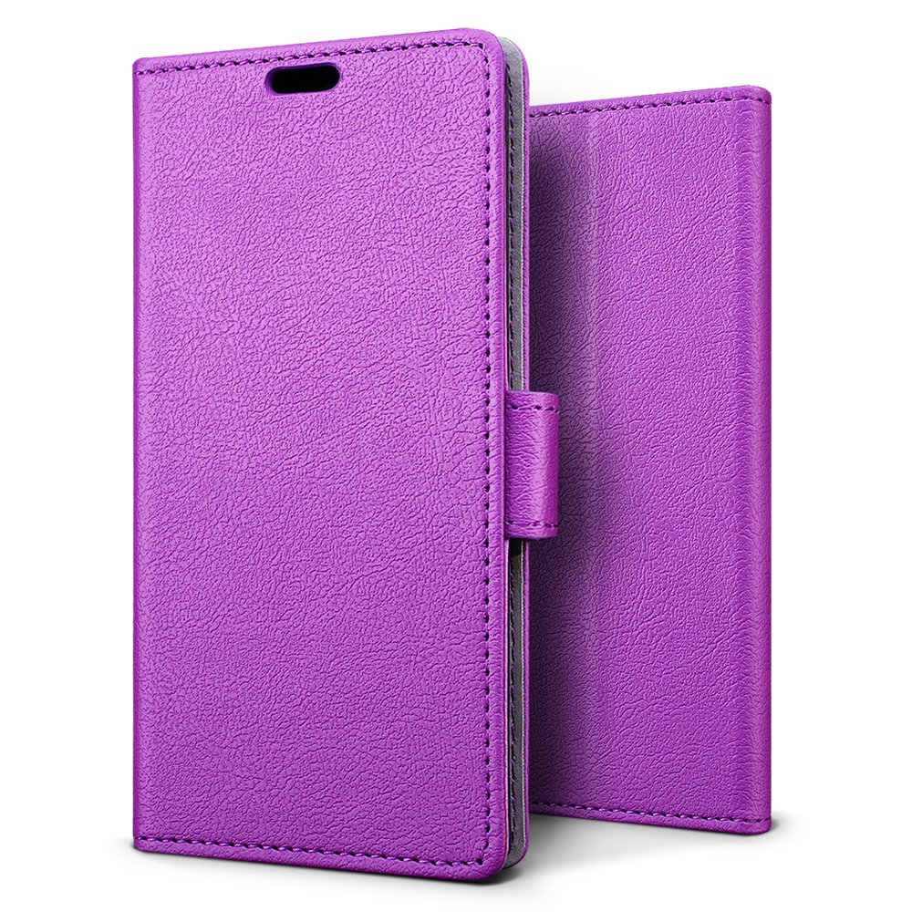 Huawei P20 Lite Case, SLEO [Premium Protective Wallet] Huawei P20 Lite Wallet Cover, 2-Slot Card, [PU Leather] Soft Waterproof Dustproof Protection, Huawei P20 Lite Cover, Huawei P20 Lite Case - Purple